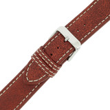 Watch Band Leather Distressed Brown White Stitching Heavy Buckle LEA441  TechSwiss   Buckled
