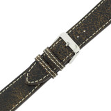 Watch Band Leather Distressed Dark Brown White Stitching Heavy Buckle LEA442| TechSwiss | Buckled