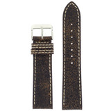 Watch Band Leather Distressed Dark Brown White Stitching Heavy Buckle LEA442| TechSwiss | Front