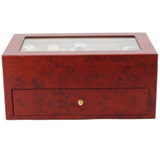 Burlwood Wood Watch Box for 20 Watches| TechSwiss TSBXA20BUR | closed