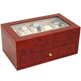 Burlwood Wood Watch Box for 20 Watches| TechSwiss TSBXA20BUR | Angle