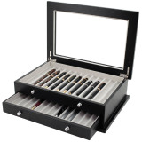 TechSwiss Wood Fountain Pen Display Case in Black | Open View