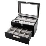 Black Watch Box - Store up to 16 boxes - Black with Metal Tabs - Main