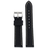 Watch Band Black White Stitching Roller Clasp| LEA472 |TechSwiss | Front