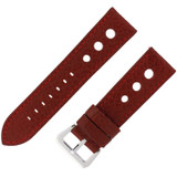 Rally Racing Watch Band Leather Strap Red Burgundy  20mm, 22mm, 24mm