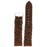Watch Band Braided Woven Leather Soft Flexible Brown Strap 12mm - 20mm