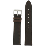 Brown Leather Watch Band with Stainless Steel Buckle | TechSwiss LEA455 | Main