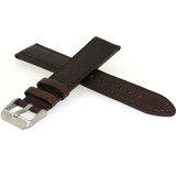 Brown Rustic Calfskin Leather Watch Band Matching Stitching 12mm -22mm