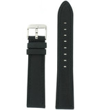 Black Leather Watch Band with Stainless Steel Buckle | TechSwiss LEA456 | Main