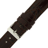 Watch Band Leather Crocodile Grain Brown Shiny LADIES LENGTH Built-In Spring 20mm -22mm