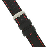 Padded Black Leather Watch Band with Red Stitching Long 20mm -24mm
