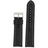 Watch Band Long Genuine Crocodile Black Padded White Stitched 18mm 20mm 22mm