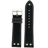 Pilot Watch Band - Replacement Strap - Black Leather - LEA1300 - Front View
