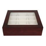Cherry Wood Tie Box | Tie Display Case TechSwiss TIEBOX1 | Cherry Tie Case | Wood Tie Organizer | Front Closed