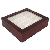 Cherry Wood Tie Box | Tie Display Case TechSwiss TIEBOX1 | Cherry Tie Case | Wood Tie Organizer | Front Side Closed