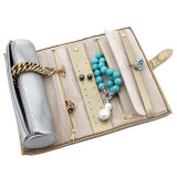 Gold and Silver Leather Jewelry Roll Up Case Organizer | TechSwiss TS10641GOLD | Open