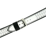 Sport Style Leather Watch Band in Black & White |TechSwiss  LEA1354 | Second photo
