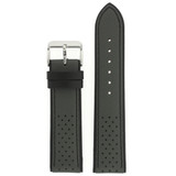 Leather Watch Band in Sport Style Grey & Black | TechSwiss LEA1355 | Third