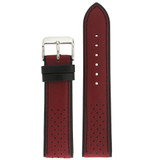 Leather Sport Style Watch band in Red Black | TechSwiss LEA1353 | Third View