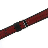 Leather Sport Style Watch band in Red Black   TechSwiss LEA1353   Second View