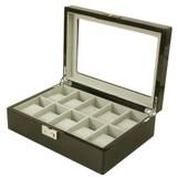 High Gloss Watch Box | Black Wood Display Case | TSBLK10W TechSwiss | Third View