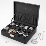 Watch Box in Black Leather | TSA410BLK | TechSwiss | Mens Cases | Open