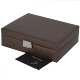 10 Watch Box with Lined Pocket in Brown