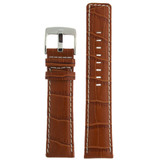 Honey Brown Leather Watch Band in Alligator Grain 18mm - 26mm