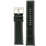 Watch Band Leather Black Sport White Stitching 18mm - 28mm