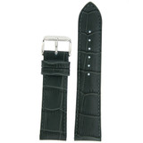 Dark Grey Leather Watch Band in Alligator Grain