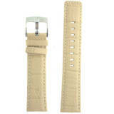 Cream Leather Watch Band in Alligator Grain LEA469 | Front
