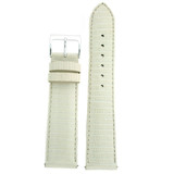 Genuine Lizard Watch Band in White LEA720 | Front
