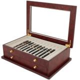 Burlwood Fountain Pen Box by TechSwiss | Wood Pen Display Case | TSBXPN26BUR | Open View