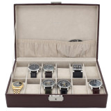 Brown Leather Watch Box with Crocodile Grain | TechSwiss TS2890BRN | Front