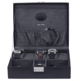 Black Leather Jewelry and Watch Box | TechSwiss Mens Cases | TechSwiss TS521BLK | Front