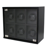 Carbon Fiber 6 Watch Winder TSW600CF Front Closed