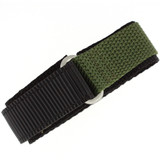 Olive Green Nylon Velcro Sport Watch Strap | TechSwiss VEL100G | Main