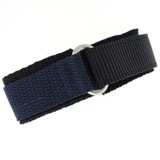 Nylon Hook & Loop Sport Watch Strap - Navy/Black