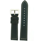 Watch Band Leather Blue White Stitching Heavy Buckle LEA490 | Front