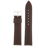 Leather Watch Band with Lizard Grain Brown - Quick Release Springs
