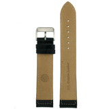 Extra Long Polished Leather Watch Band in Black