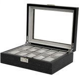 Grey 10 Watch Box With Window & Removable Tray TSBOX10100GREY Front angle Open
