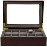 Watch Box in Espresso Finish | Front Open