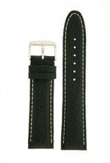 Black Leather Watchband with White