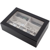 Black Mens Valet Case in Wood   TechSwiss Modern Mens Accessories   TSVL405BLK   Closed Front