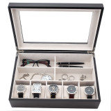 Black Mens Valet Case in Wood   TechSwiss Modern Mens Accessories   TSVL405BLK   Front Open