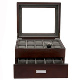 Brown Espresso 20 | Watch Box with High Clearance | TSBOX20ESS open front