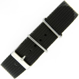 Watch Band Nylon One Piece Military Style Sport Black 20mm