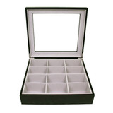 Tie Box by TechSwiss | Tie storage case | Necktie storage case | TIEBOX1BK - OPEN FRONT