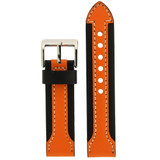 Durable Leather Contrast Watch Band in Black & Orange LEA600 | TechSwiss | Front